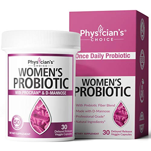 Prebiotics & Probiotics for Women - Clinically Proven ProCran - Organic Prebiotics, 50 Billion CFU, D-Mannose & Cranberry for Digestive, Immune, Feminine Health, Soy & Dairy Free, 30 Vegan Capsules