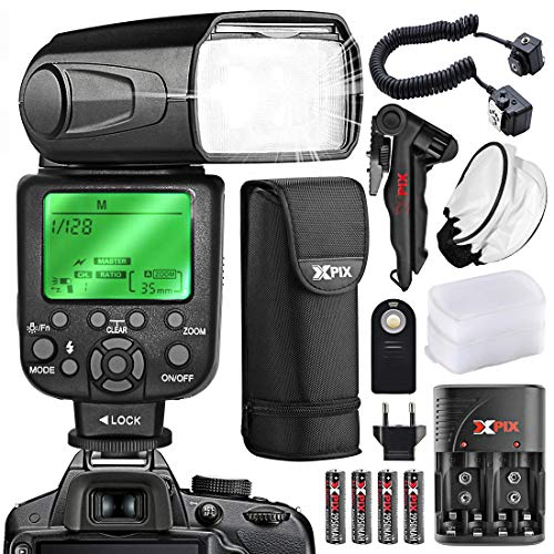 XPIX High Power Auto-Focus Digital SLR Flash for Nikon D Series, F Series and Z Series Cameras + XPIX Rechargeable AA Batteries & Quick Travel Charger, Tripod, Universal Remote and Deluxe Accessories