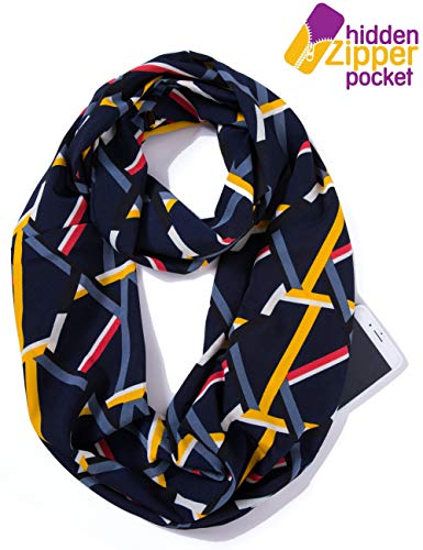 Elzama Infinity Loop Scarf with Hidden Zipper Pocket Woven Printed Patterns for Women - Travel Wrap