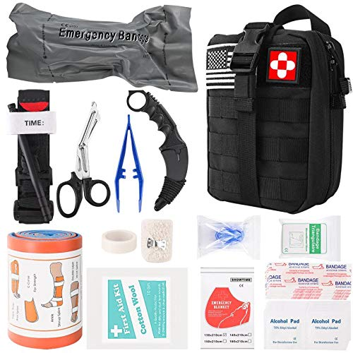 gearedt Emergency Trauma Kit, Professional First Aid Supplies with Molle Pouch, Tourniquet, 6' Israeli Bandage Gifts Ideas for Men Families SOS Trauma Wound Care, Disaster Bleeding Control Adventures