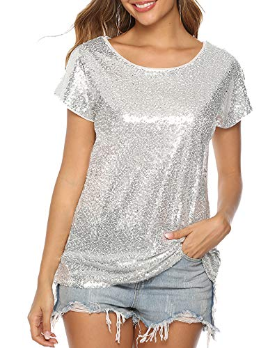 YAWOVE Womens Short Sleeve Loose Fitting Sparkle Sequins Tops Cotton T Shirts Silver