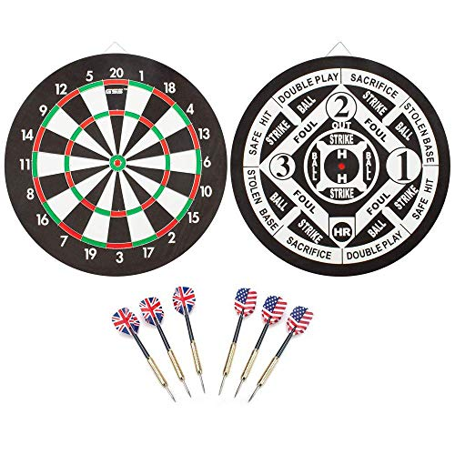 Regulation Size Dart Board Game Set with Darts (3 Styles Available) (Baseball Dart Board Games)