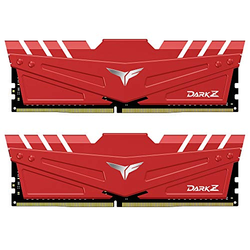 TEAMGROUP T-Force Dark Z DDR4 32GB Kit (2 x 16GB) 3200MHz (PC4-25600) CL 16 288-Pin SDRAM Desktop Gaming Memory Module Ram - Red - TDZRD432G3200HC16CDC01