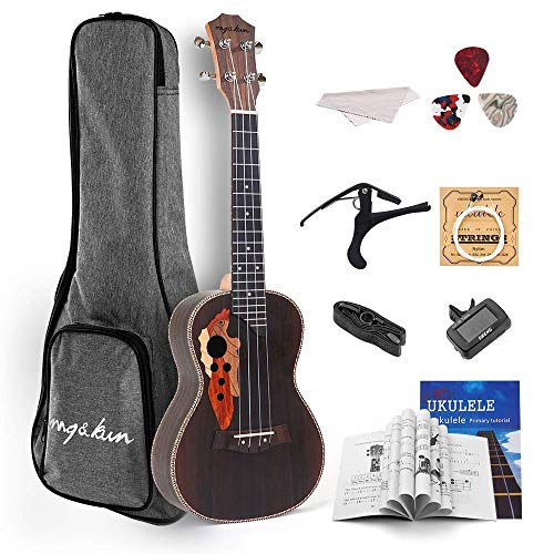 Mq&Kun Concert 23 inch Ukulele Beginner Kit for Kid Adult Student Small Hawaiian Guitar with Gig bag Tuner and Capo (23 inch, Rosewood Special)