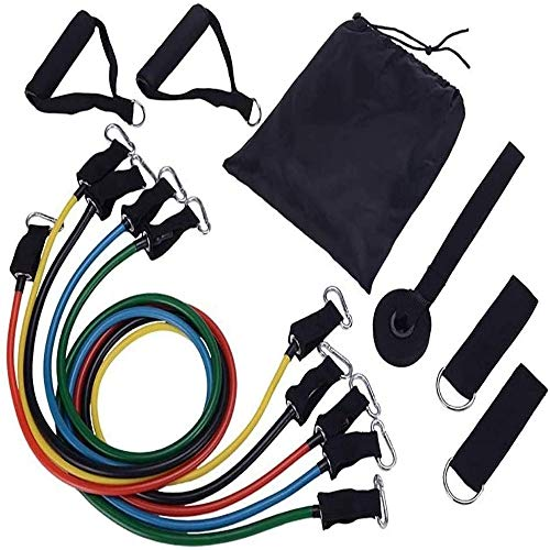AMprime Resistance Bands Set, Workout Bands - with Door Anchor, Handles and Ankle Straps - Stackable Up to 105 lbs - for Resistance Training, Physical Therapy, Home Workouts, Yoga, Pilates