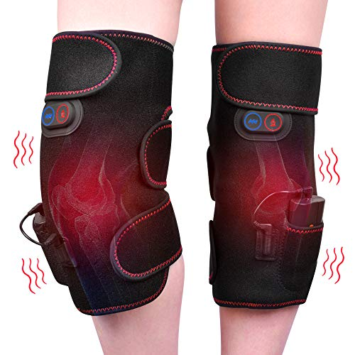 Wireless Heated Knee Massager Vibration Knee Pads Heated Knee Wrap for Pain Relief - Arthritis Injury Recovery - 2pcs for Left and Right, Powered by Portable Charger, Heating Pads for Knee