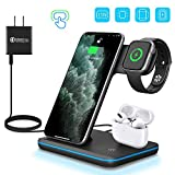WAITIEE Wireless Charger 3 in 1 Qi-Certified 15W Fast Charging Station for Apple iWatch Series 5/4/3/2/1,AirPods, Compatible with iPhone 11 Series/XS MAX/XR/XS/X/8/8 Plus/Samsung (Black)