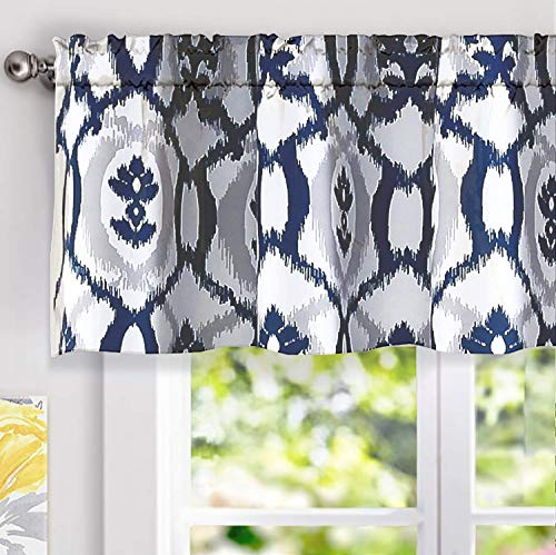 DriftAway Evelyn Ikat Fleur Floral Pattern Window Curtain Valance 52 Inch by 18 Inch Navy Blue