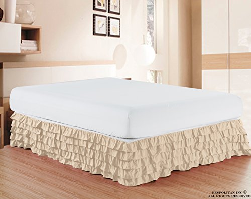Elegant Comfort Luxurious Premium Quality 1500 Thread Count Wrinkle and Fade Resistant Egyptian Quality Microfiber Multi-Ruffle Bed Skirt - 15inch Drop, Queen, Cream