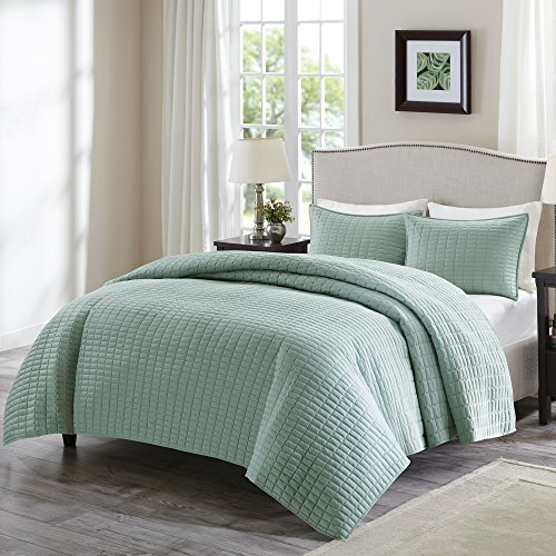 Comfort Spaces Kienna Set-Stitched Double Sided Quilting All Season, Lightweight, Coverlet Bedspread Bedding, Matching Shams, Twin/Twin XL(66'x90'), Seafoam