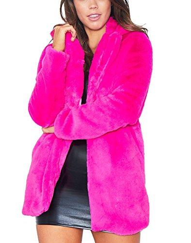 Remelon Womens Long Sleeve Winter Warm Lapel Fox Faux Fur Coat Jacket Overcoat Outwear with Pockets Rosy L