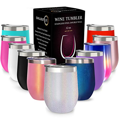 CHILLOUT LIFE 12 oz Stainless Steel Tumbler with Lid & Gift Box - Wine Tumbler Double Wall Vacuum Insulated Travel Tumbler Cup for Coffee, Wine, Cocktails, Ice Cream - Holographic Sparkle Tumbler