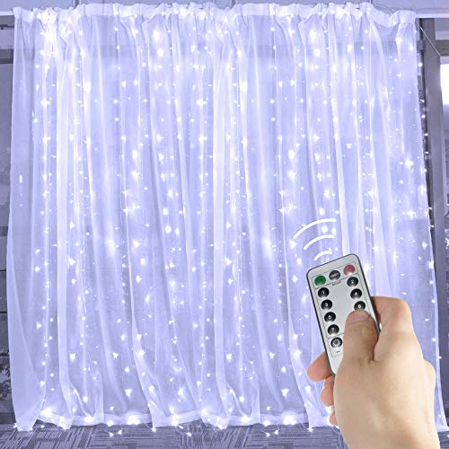 Curtain String Lights 20 Ft. 600 LED Fairy Twinkle Lights with Remote, Timer, 8 Modes for Window Bedroom Wedding Party Backdrop Outdoor Indoor Decor, Pure White, Unconnectable, Curtain Not Included