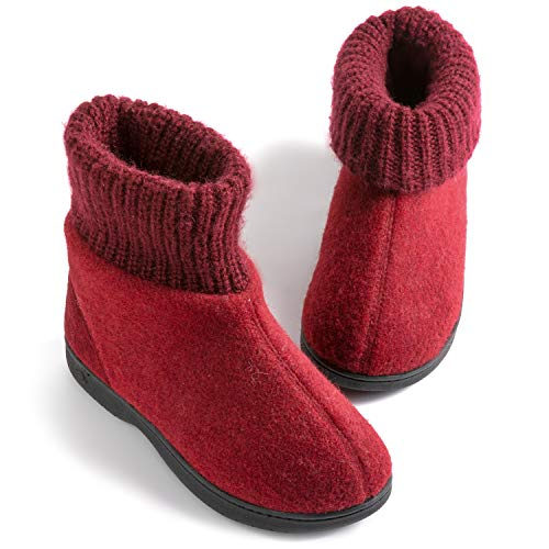 Zigzagger Womens Girls Wool-Like Blend Bootie Slippers Polar Fleece Lining with Adjustable Knit Collar House Shoes Wine 9 M US