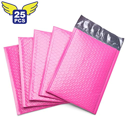 Fu Global #0 6x10 Inches Poly Bubble Mailer Self Seal Padded Envelopes Pack of 25 (Pink)