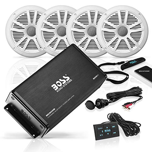 BOSS Audio Systems ASK904B.64 Marine Weatherproof Amplifier and Speaker Package - Full Range 500 Watt Amplifier With Bluetooth Remote, 6.5 Inch 180 Watt Full Range Speakers, No Receiver Needed, Black