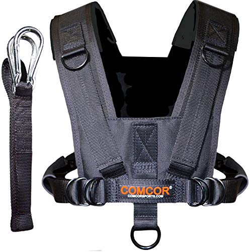 ComCor Pro Sled Harness with Padded Shoulders, Includes 9' Pull Strap - Made in USA