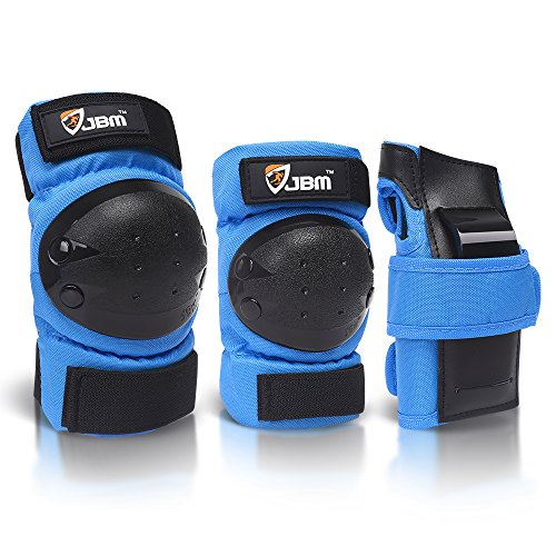 JBM international Adult / Child Knee Pads Elbow Pads Wrist Guards 3 In 1 Protective Gear Set, Blue, Youth / Child