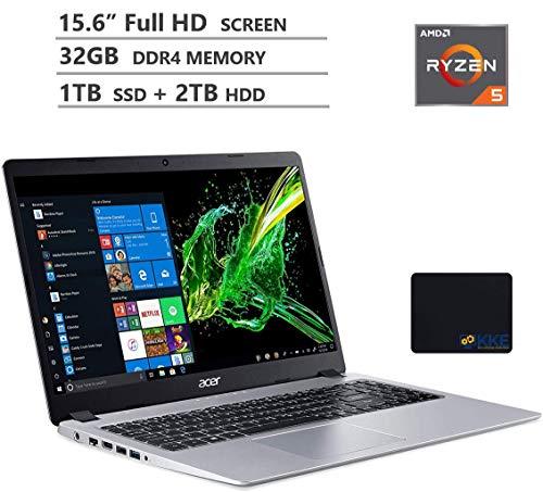 "Acer Aspire 5 Laptop, 15.6"" Full HD Screen, AMD Ryzen 5-3500U Processor up to 3.7GHz, 32GB RAM, 1TB PCIe SSD + 2TB HDD, Webcam, Wireless-AC, HDMI, Win 10 Home, Silver, Wireless Mouse, KKE Mousepad"