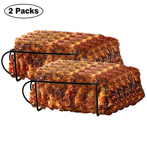Urban Deco Rib Rack Grill Racks Pork Rib Rack Non Stick Rib Rack BBQ for 2 Set Porcelain Coated Steel Roasting Stand Holds 4 Rib Racks for Grilling & Barbecuing (Black-2Pack)