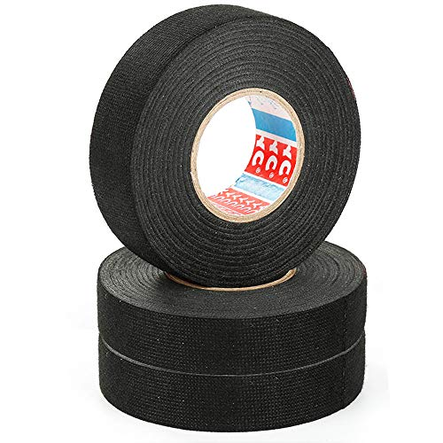 Wire Loom Harness Tape, Wiring Harness Cloth Tape, Adhesive Fabric Tape, High Temperature Resistant Automotive Wiring Harness Tape,(19 mm X 13m,3 Rolls)