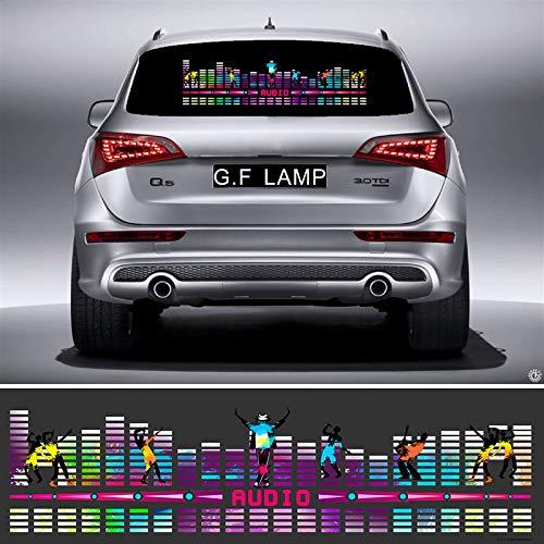 YISEMEN 9025cm Eight Combination Flash Equalizer Glow Car Sticker Music Rhythm LED EL Sheet Light Sound Music Activated Equalizer (90x25cm)