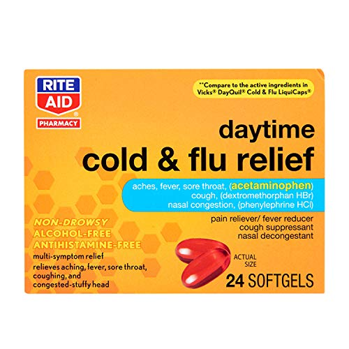 Rite Aid Multi-Symptom Daytime Cold & Flu Relief Softgels - 24 Count   Non-Drowsy   Alcohol-Free Cold Medicine   Antihistamine-Free   Cold and Flu Medicine   Sinus Medicine for Adults