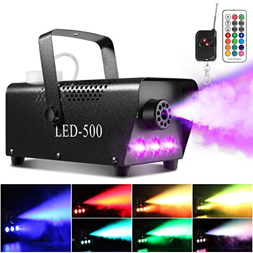 Smoke Machine, AGPTEK Fog Machine with 13 Colorful LED Lights Effect, 500W and 2000CFM Fog with 1 Wired Receiver and 2 Wireless Remote Controls, Perfect for Wedding, Halloween, Party and Stage Effect