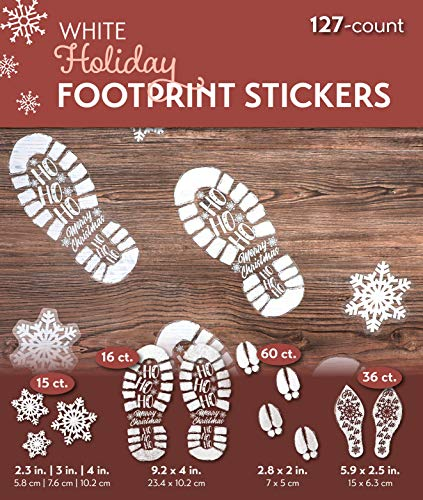 Blue Panda Christmas Window Decal Clings (127 Count) Footprints and Snowflakes