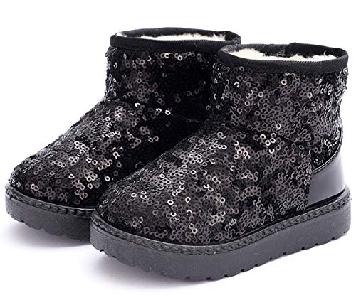 DADAWEN Boy's Girl's Warm Winter Sequin Waterpoof Outdoor Snow Boots Black US Size 7.5 M Toddler
