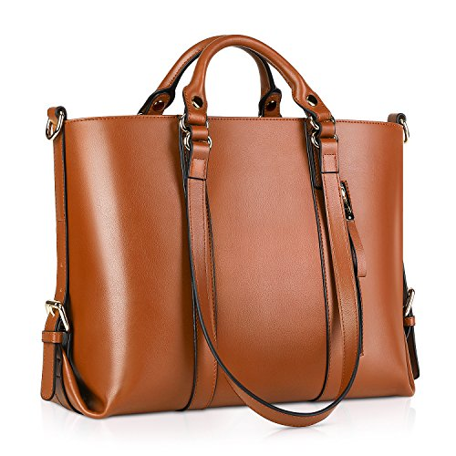 Kattee Women's Genuine Leather Handbags for Women, Tote Bags and Cross-body Purses Brown