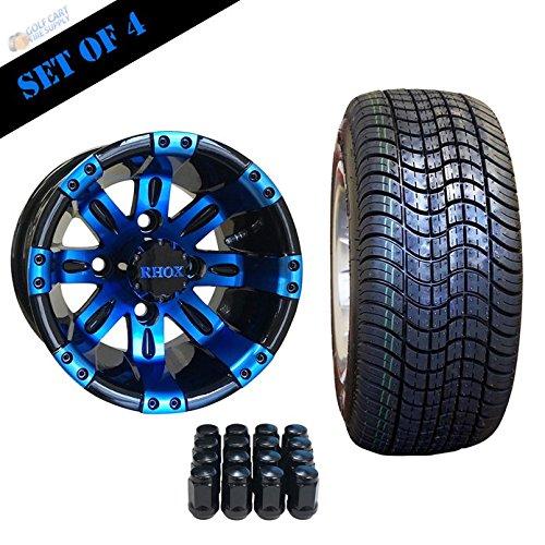 10' VEGAS Golf Cart Wheels and 205/50-10 DOT Low Profile Golf Cart Tires Combo - Set of 4 (CHOOSE YOUR COLOR!) (Blue/Black)