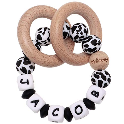 Munchewy Baby Rattle Teether Personalized Name, Customized Grasping Activity Shaker Grab and Spin Rattles, Early Educational Toys with Wood Teething Rings for Newborn Infant Toddler - Cow Print