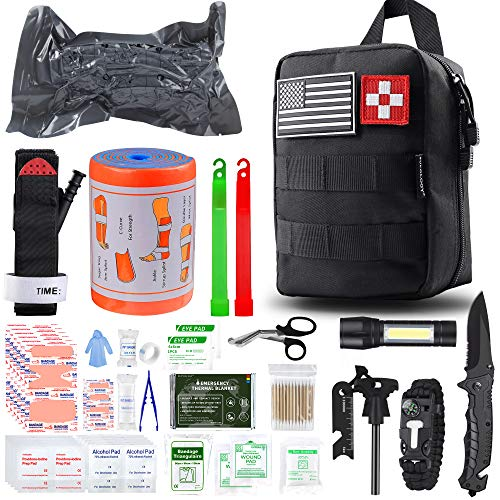 SUPOLOGY Emergency Survival First Aid Kit,135-In-1 Trauma Kit with Tourniquet 36' Splint, Military Combat Tactical IFAK EMT for First Aid Response, Disaster Home Outdoor Camping Emergency Kit