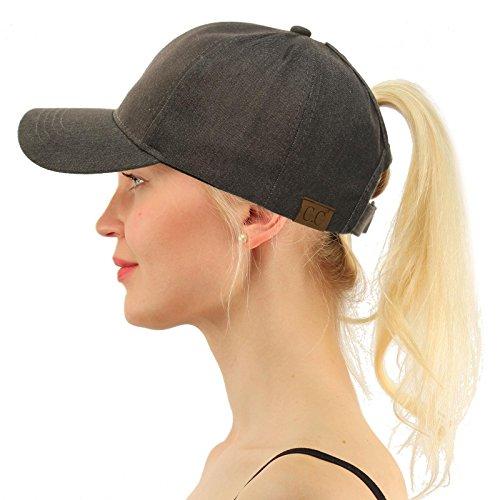 C.C Ponytail Messy Buns Trucker Ponycaps Plain Baseball Visor Cap Dad Hat Washed Gray