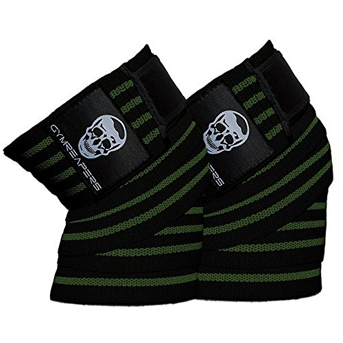 Gymreapers Knee Wraps (Pair) with Strap for Squats, Weightlifting, Powerlifting, Leg Press, and Cross Training - Flexible 72' Knee Wraps for Squatting - for Men & Women (Military Green)