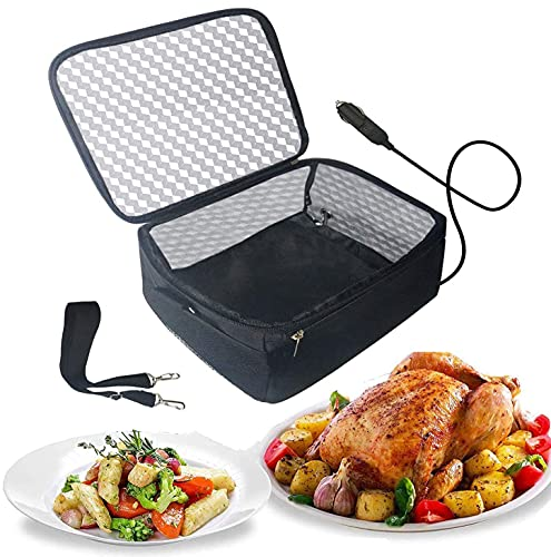 Portable Oven 12V Car Food Warmer Lunch Box Personal Portable Microwave Electric Slow Cooker for Prepared Meals Reheating & Raw Food Cooking For Road Trip/traveling/Picnic/Camping(Black)