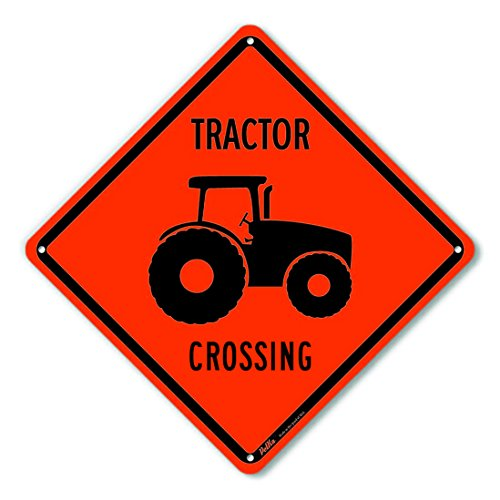 PetKa Signs and Graphics PKAC-0212-NA_'Tractor Crossing' Aluminum Sign, Black Text with Orange Background 10' x 10', Black Text with Orange Background