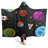 EJudge Fleece Wearable Hooded Blanket Cartoon Planet Rocket Solar System Soft Cozy Fuzzy Plush Twin Blankets Hoodie Microfiber Throw for Couch Sofa Chair Fall Nap Travel Adults/Womens/Mens Twin