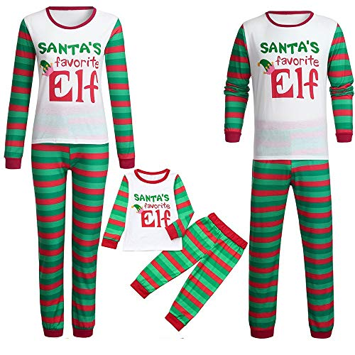 Kehen Santa's Favorite Elf Family Jammies, Couple and Toddler Matching Pajamas Girl Boy Striped Sleepwear Men White