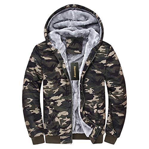Baonmy Men's Casual Winter Fleece Lined Hoodies Jackets Zip Pullover Warm Thick Coats (Camo, M)