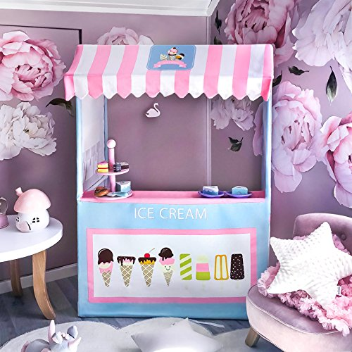 Ice Cream Cart-Indoor Playhouse Plus 2 Play Food-49 Inches Tall- Colorful Kids Business Cart for Child Development and Learning- Children Play Store Indoor & Outdoor