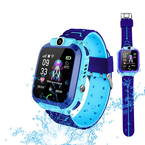 Smart Watch Phone for Kids, Waterproof Smartwatches with Tracker HD Touch Screen for Kids Games SOS Alarm Clock Camera Digital Wrist Watch Smartwatch Christmas Birthday Gifts for 3-12 Boy Girls(Blue)
