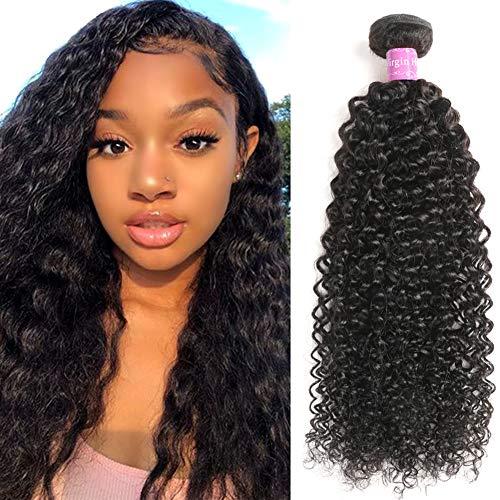 Abbily Hair Kinky Curly Human Hair Bundles Brazilian Virgin Curly Hair 1 Bundle (12Inch,100g) Unprocessed Virgin Brazilian Kinky Curly Hair Weave Natural Color