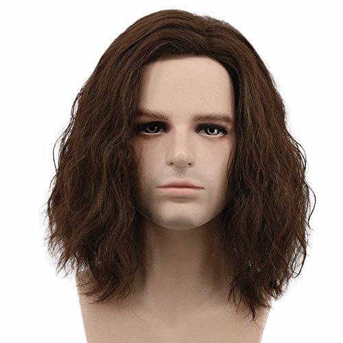 Karlery Men Fluffy Short Curly Brown Wig Halloween Cosplay Wig Anime Costume Wig (1)