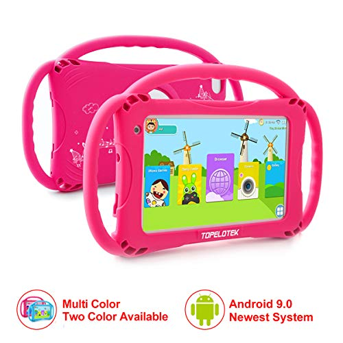 Kids Tablet 7 Android Kids Tablet for Toddlers Kids Friendly Learning Tablet with WiFi Camera Children's Tablets Android 9.0 1GB + 16GB Parental Control with Shockproof Case (Rose Red)