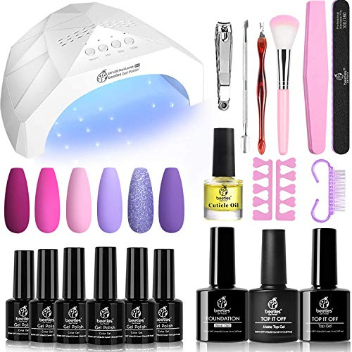Beetles 6 Colors Gel Nail Polish Starter Kit with Light 48W LED Nail Lamp Base Gel Top Coat, Soak Off LED Gel Nail Polish Set Hot Pink Magenta Gel Manicure Kit Nail Art Designs DIY Home