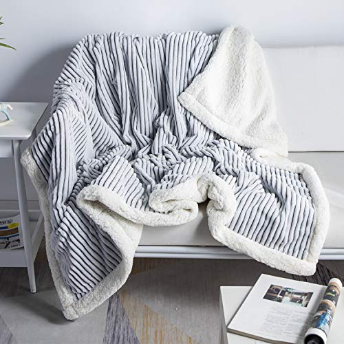 DISSA Sherpa Fleece Blanket Reversible Sherpa Flannel Blanket Soft Fuzzy Plush Fluffy Blanket Warm Cozy with Strip Perfect Throw for All Seasons for Couch Bed Sofa Chair (Grey, 51' x63')