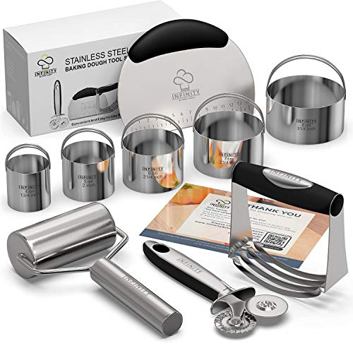 Infinity8 5 in 1 Professional Stainless Steel Baking Tool Set, Biscuit Cutters, Pastry Scraper, Dough Blender, Rolling Pin, Wheel Cutter