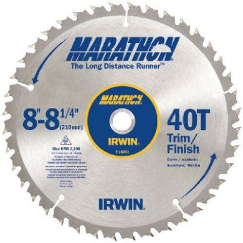 IRWIN Tools MARATHON Carbide Table / Miter Circular Blade, 8 1/4-inch, 40T Universal Arbor Miter and (14053)